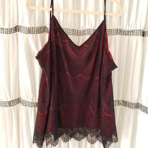 Maurices Scarlet Camisole With Black Lace Overlay